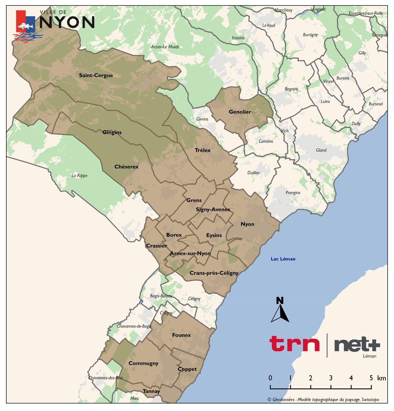 Carte des zones desservies par net+ Léman